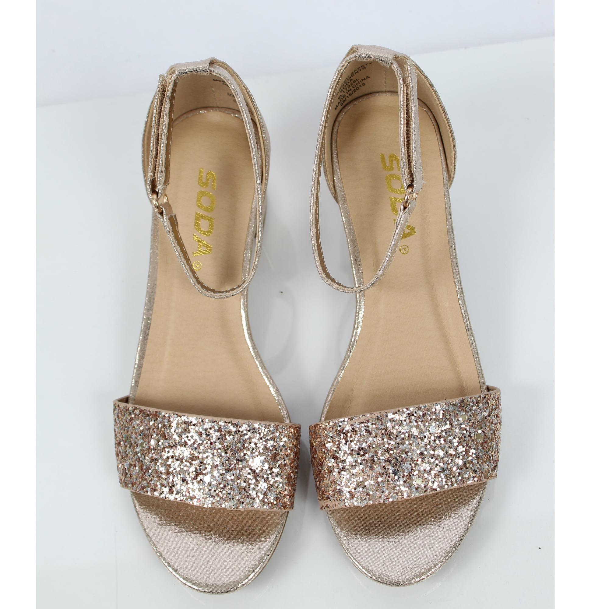 304a8f92801 Soda Girl's Glitter Open Toe Ankle Strap Sandal (Silver, 2 M US Little Kid)