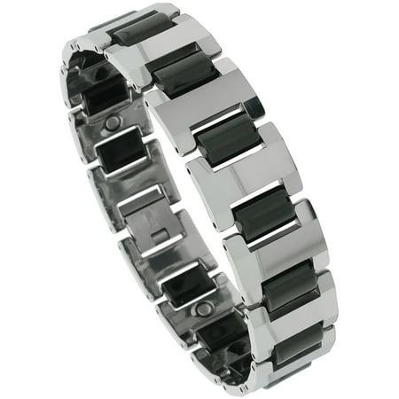Tungsten Carbide Bracelet Magnetic Therapy  2 Tone Gun Metal   Black Bar Links  5 8 Inch  16 Mm  Wide