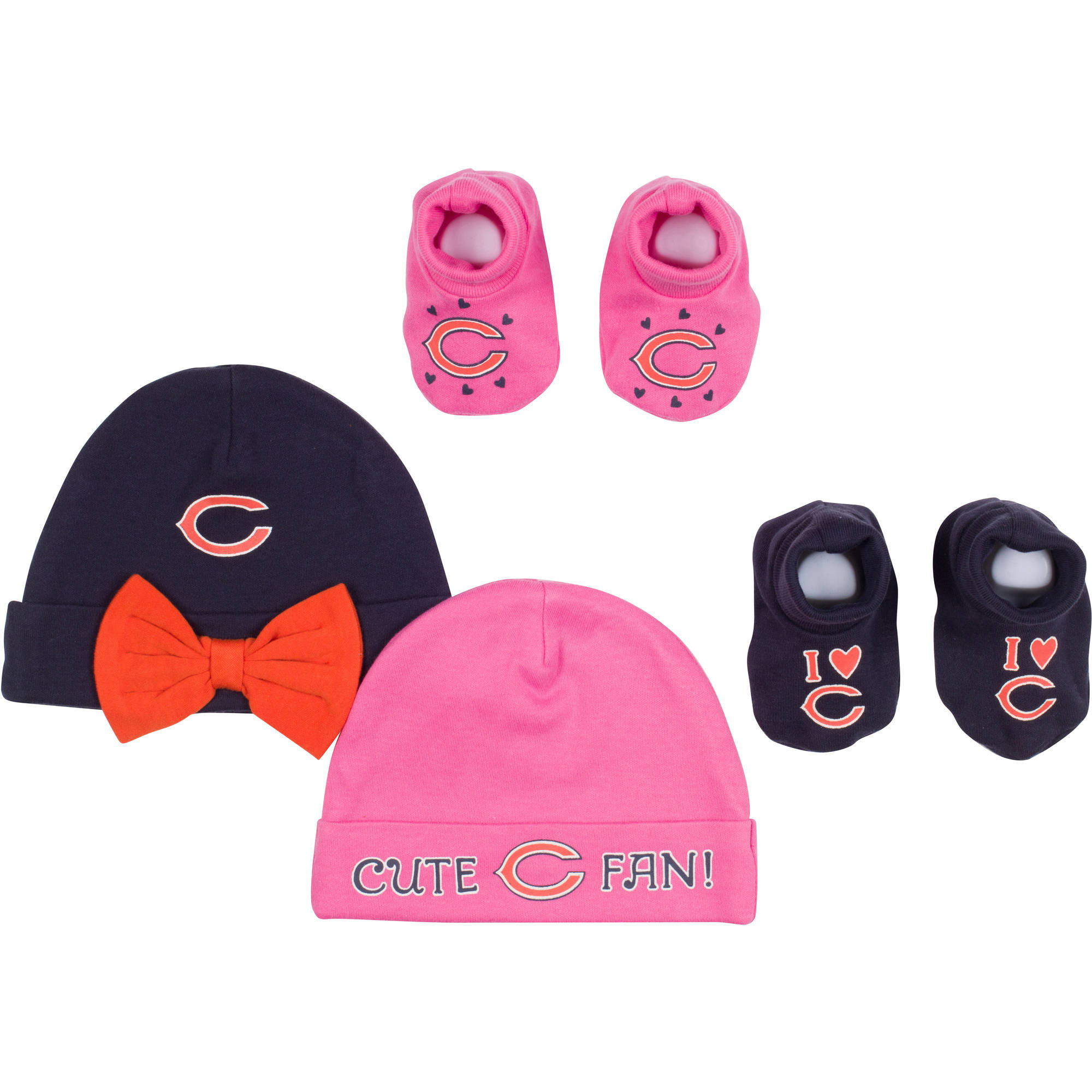 NFL Chicago Bears Baby Girls Accessory Set, 2 Caps and 2 Booties, 4-Piece