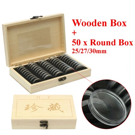 Wood Coins Display Storage Box Collectible Case for Certified Coin with 50Pcs 25/27/30mm Capsules