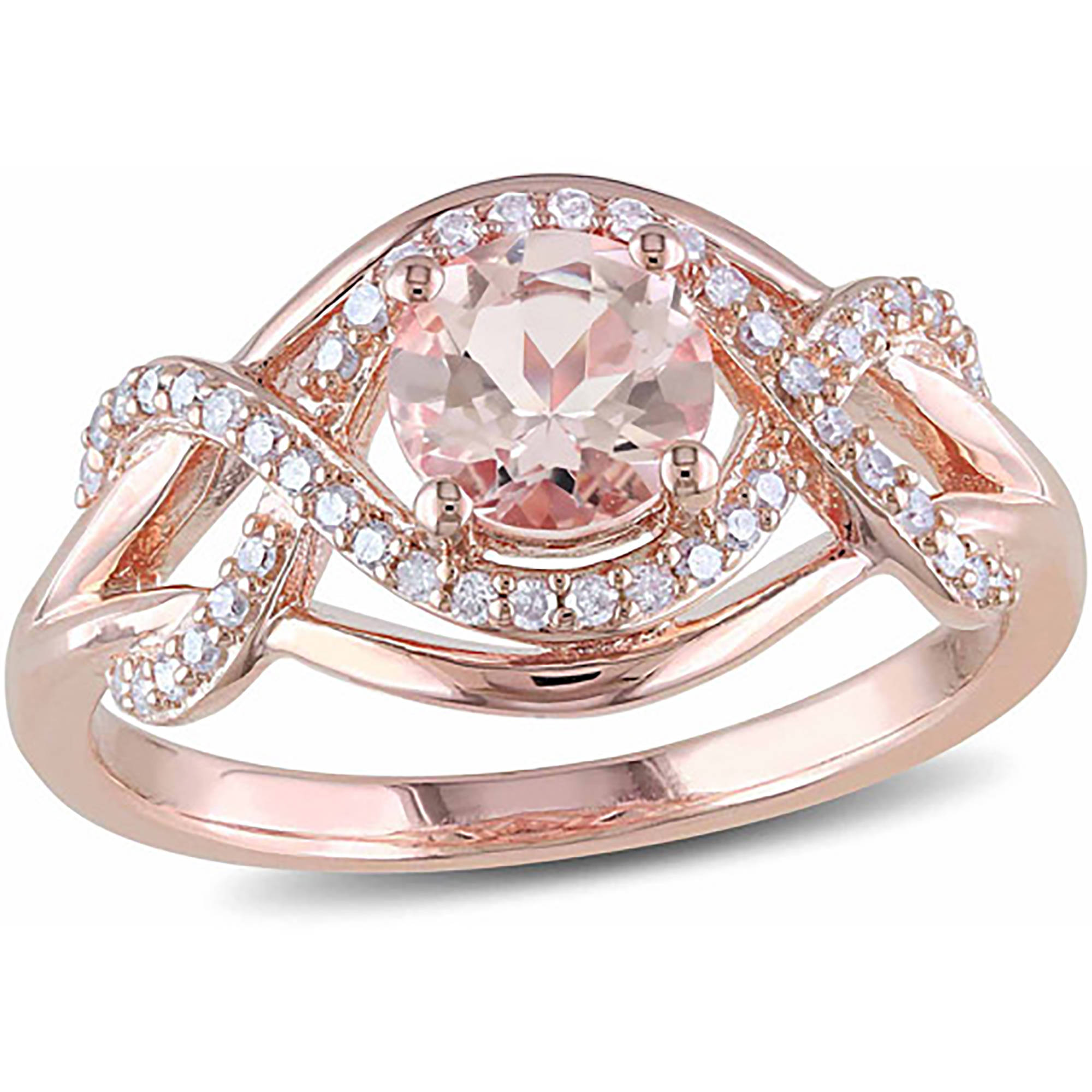 4 5 Carat T.G.W. Morganite and 1 5 Carat T.W. Diamond Pink Rhodium-Plated Sterling Silver Infinity Ring by Generic