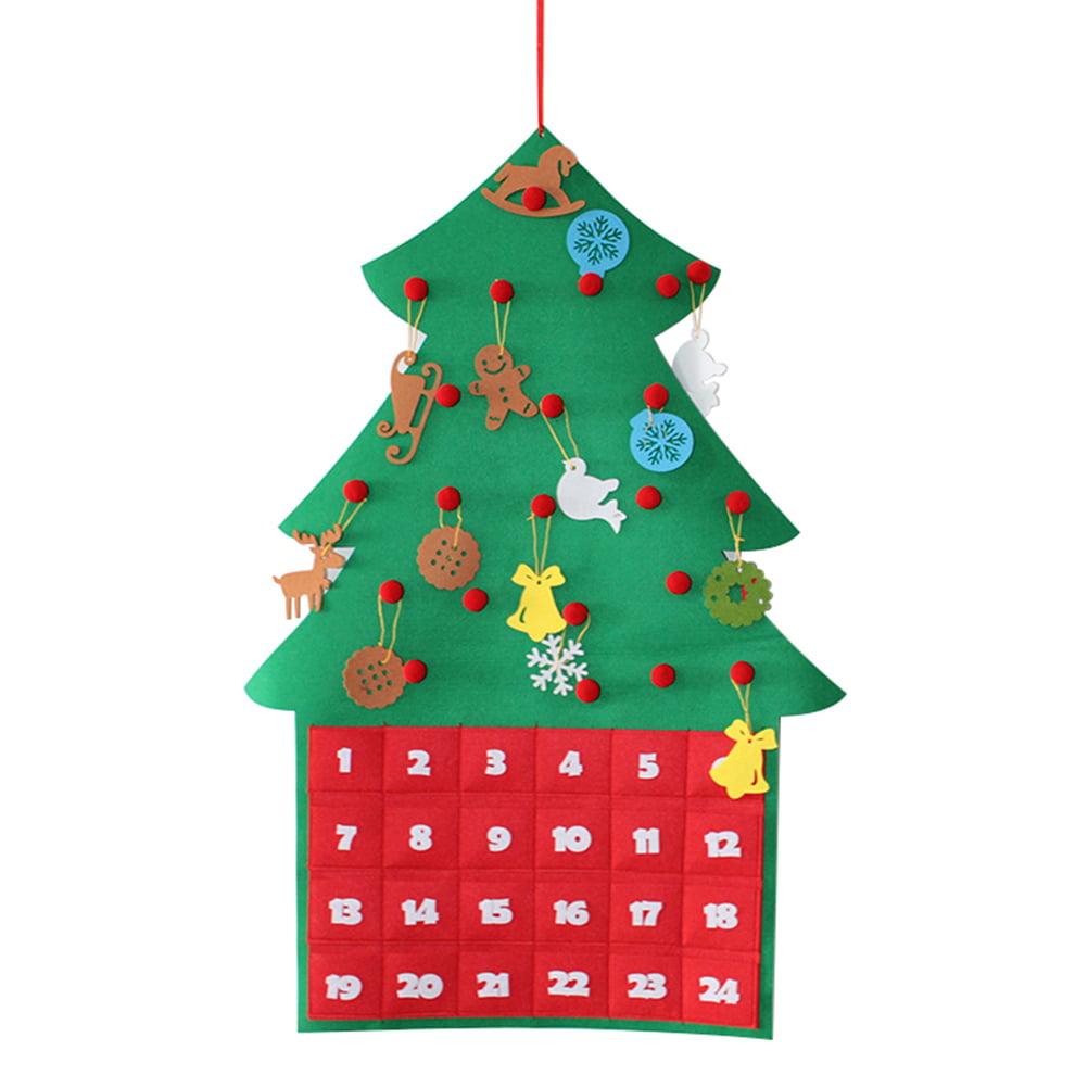 Felt Christmas Tree Advent Calendar: Felt Christmas Advent Calendar Hanging Christmas Tree