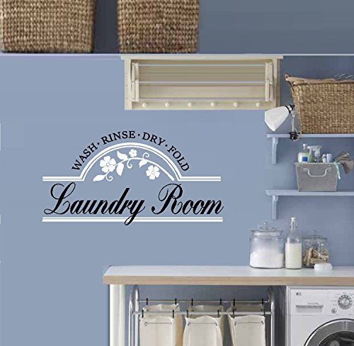 "Decal ~ LAUNDRY ROOM ~ Wash Rinse Dry Fold: Wall Decal (13"" x 25"", Black/White)"