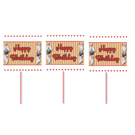 Bowling Happy Birthday Cupcake Picks -12pack (Bowling Cupcakes)