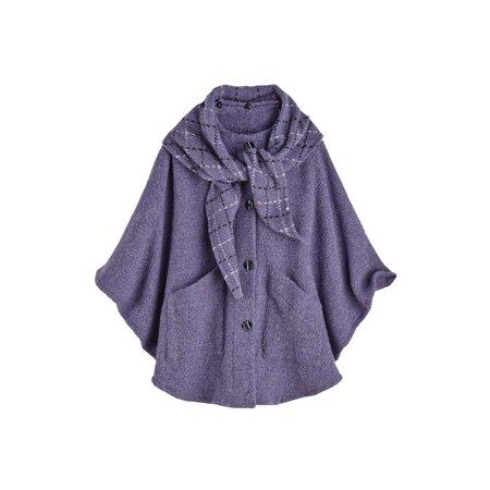 Women's Clare Cape - Wool Alpaca Button Down Jacket with Scarf (Wool Duffle Coat Women)