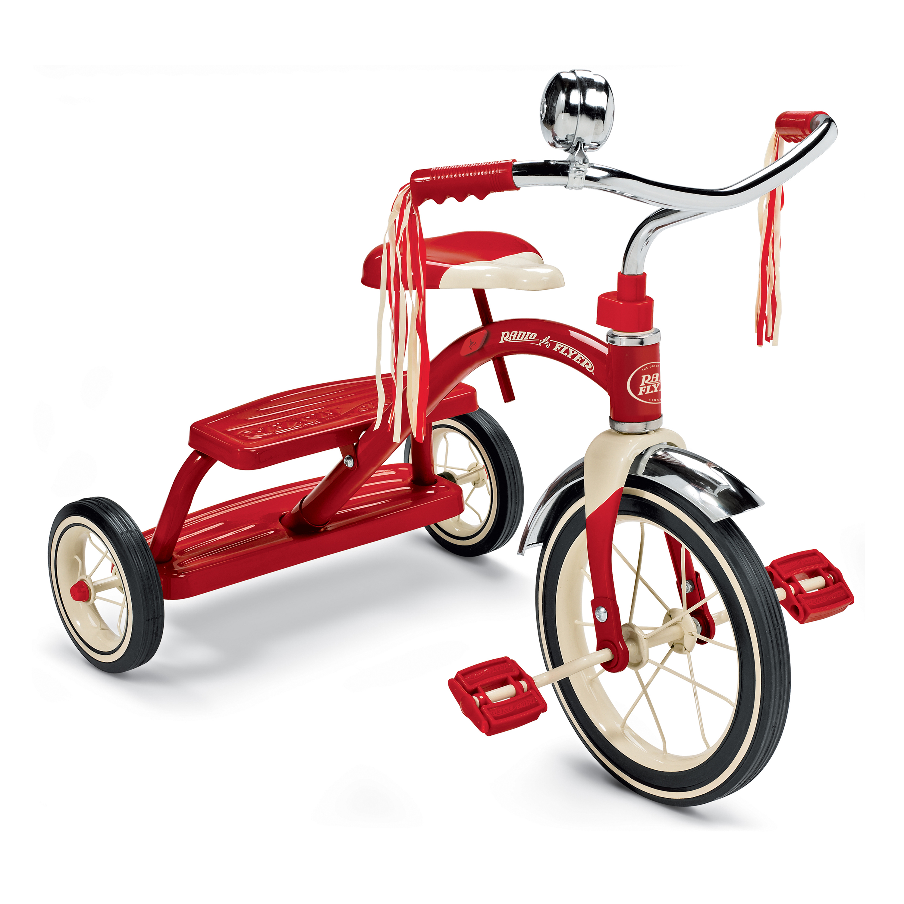 """Radio Flyer, Classic Red Dual Deck Tricycle, 12"""" Front Wheel, Red"""