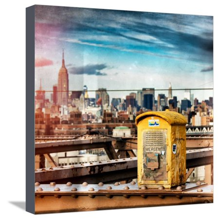 Instants of NY Series - Police Emergency Call Box on Walkway of Brooklyn Bridge Stretched Canvas Print Wall Art By Philippe Hugonnard