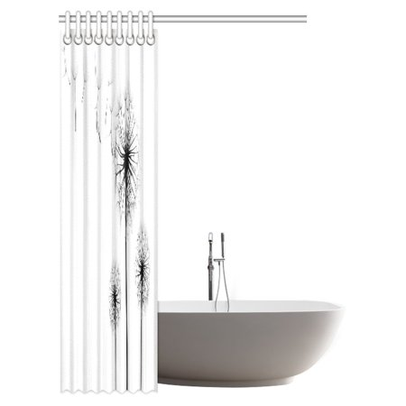 GCKG Xray Flower Decor Shower Curtain, Dandelions on Simple Background Uv Style Negative of Nature Art Bathroom Shower Curtain with Hooks, 48x72 Inches - image 2 de 2