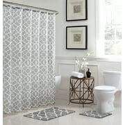 Light Grey/White Geometric, Bathroom Set, 15 Piece, Elsa