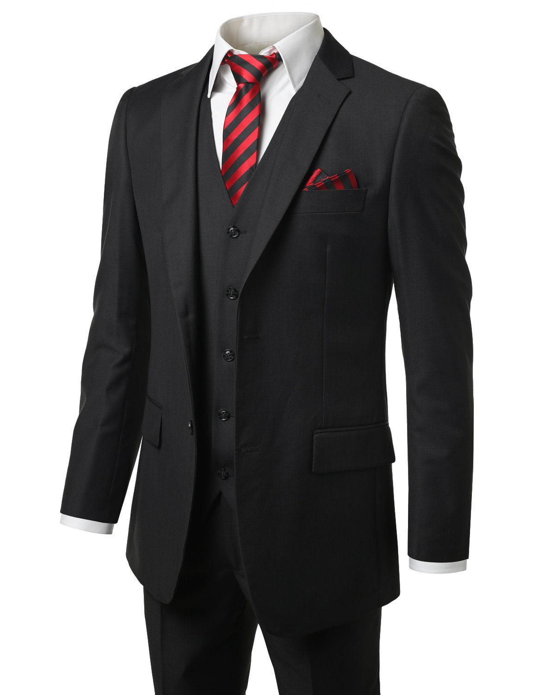 MONDAYSUIT Men's Modern Fit 3-Piece Suit Blazer Jacket Tux Vest & Trousers