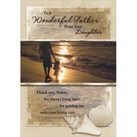 Designer Greetings Man and Small Girl on Beach: From Daughter Father's Day Card for Father (Beach Greeting Cards)