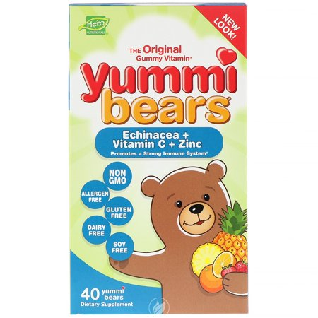 Yummi Bears (Hero Nutritionals) Echinacea with Vitamin C and Zinc 40 Ct, Pack of 2