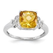 Sterling Silver with Citrine and White Topaz Round Ring QR4579CI-7
