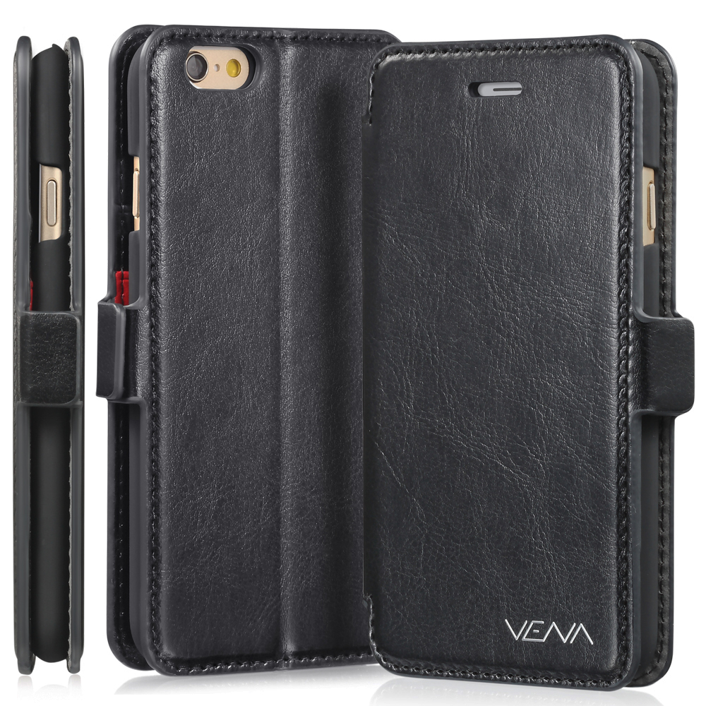 "iPhone 6 Plus Wallet Case - VENA [vFolio] Slim Fit Faux Leather Vintage Flip Stand Wallet Case with Card Slots for iPhone 6 Plus (5.5"") - Black"