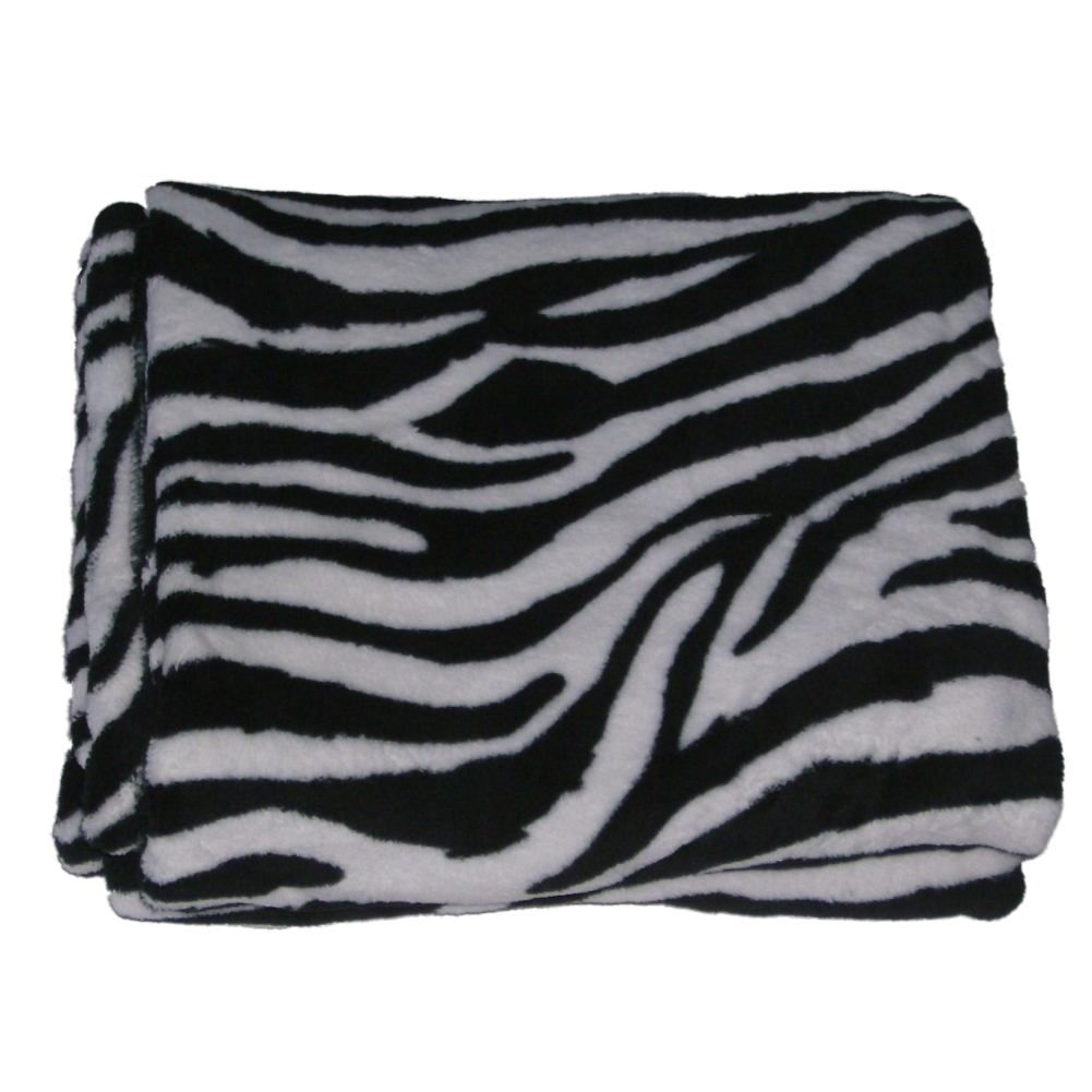 Cannon Microplush Fleece Zebra Stripe Throw Blanket So Soft & Plush