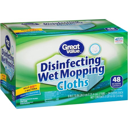 Great Value Disinfecting Wet Mopping Cloths, 48 Count