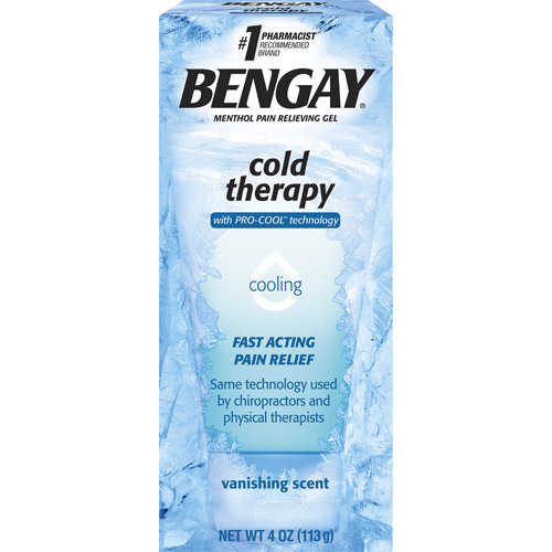 Bengay Vanishing Scent Cold Therapy Cooling Menthol Pain Relieving Gel, 4 oz