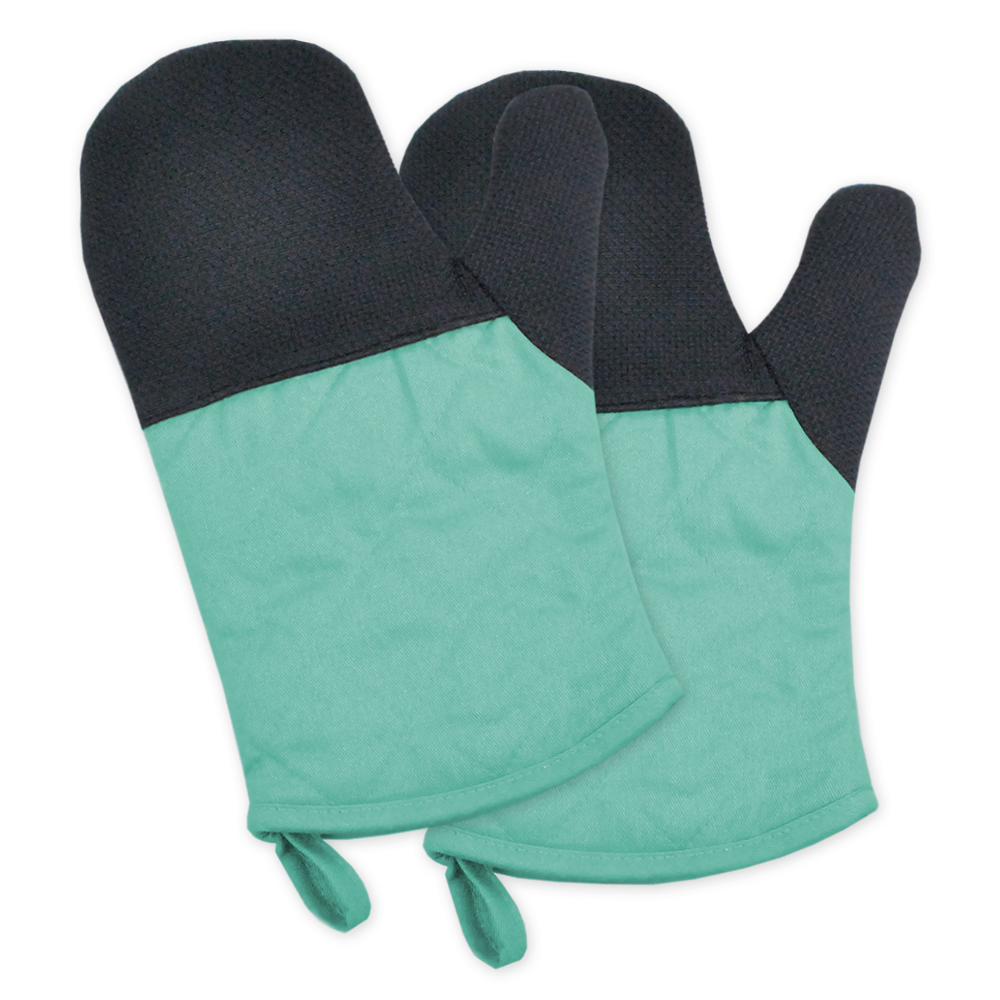 "Design Imports Neoprene Kitchen Oven Mitt Set, Set of 2, 11.2""x7"", Aqua; Blue"