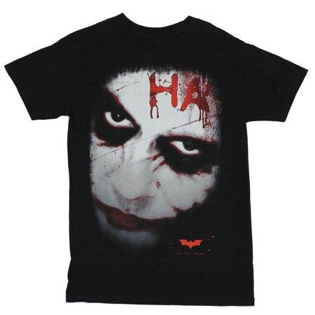 Dark Knight Mens T-Shirt  - Batman Movie Heath Ledger Joker Ha Ha (The Joker Clothes Dark Knight)