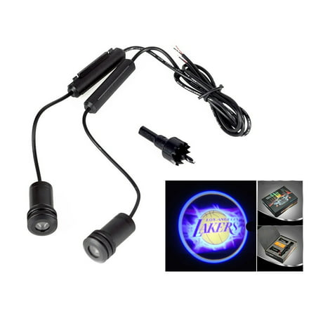 - 2x Lakers Logo 5W Car Door Ghost Laser Projector LED Light 4th Generation