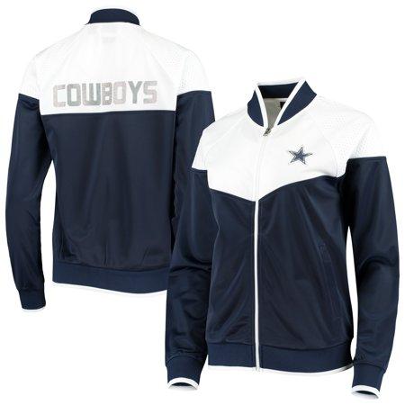 Dallas Cowboys G-III Sports by Carl Banks Women's Wildcard Raglan Full-Zip Track Jacket - Navy/White