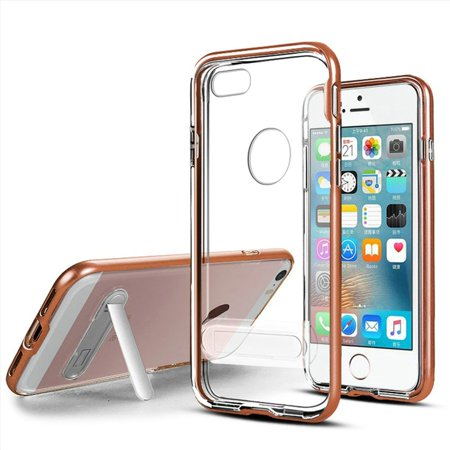 For Apple iPhone SE iPhone 5 iPhone 5S Vitreous Crystal Clear Transparent Hybrid with magnetic stand Case Cover - Rose Gold - Walmart.com