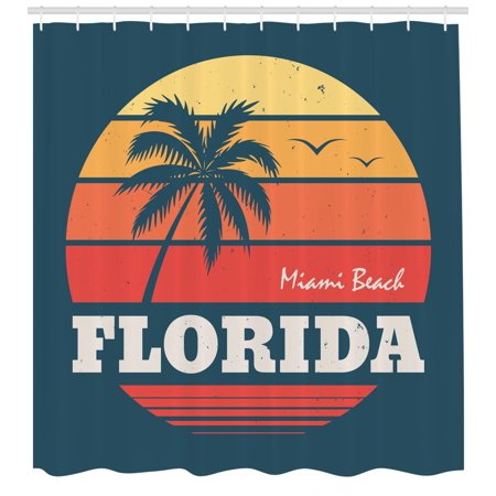 Florida Shower Curtain Abstract Circular Design Of Miami Beach Warm Colored Sunset And Birds Fabric Bathroom Set With Hooks 69W X 84L Inches Extra Long