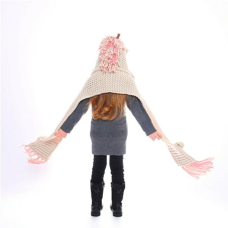 20 inch Crochet Winter Hat Scarf Hooded Knit Beanie Cosplay