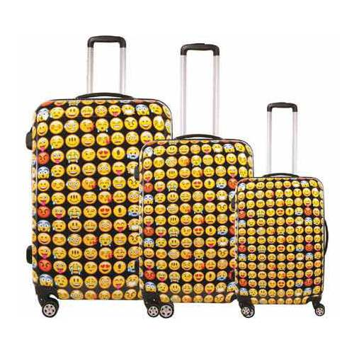 Ful Emoji Hardside 3 Piece Spinner Luggage Set
