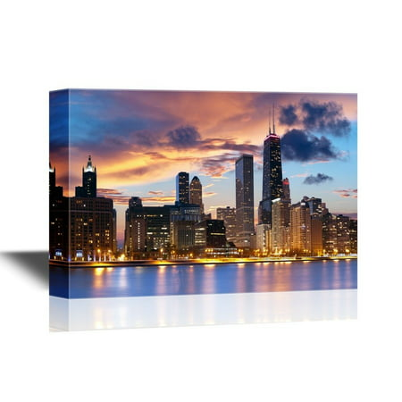 Chicago Outdoor Wall - wall26 - Chicago Downtown Skyline - Canvas Art Wall Decor - 32x48 inches