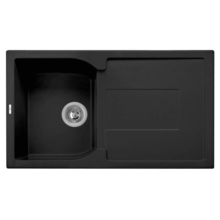 34 in. Single Bowl Kitchen Sink with Drain Board in Black