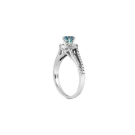 1ct Split Shank Treated  Blue Diamond Ring Set 14K White Gold - image 2 de 3