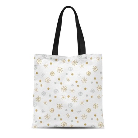ASHLEIGH Canvas Tote Bag Silver Christmas Winter Pattern Sikver and Gold Snowflakes Parer Reusable Shoulder Grocery Shopping Bags Handbag