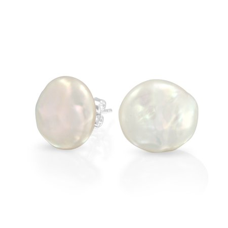 Bridal White Biwa Coin Freshwater Cultured Pearl Stud Earrings For Women 925 Sterling