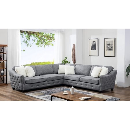 3pc Sectional Linen Fabric Beige or gray Includes