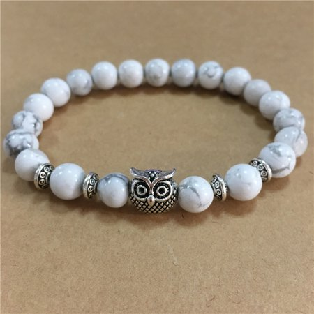 Mosunx Volcanic Bracelet Owl Silver Lava Stone Bead Bracelets