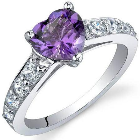 1.00 Carat T.G.W. Amethyst Rhodium over Sterling Silver (24k Amethyst Ring)