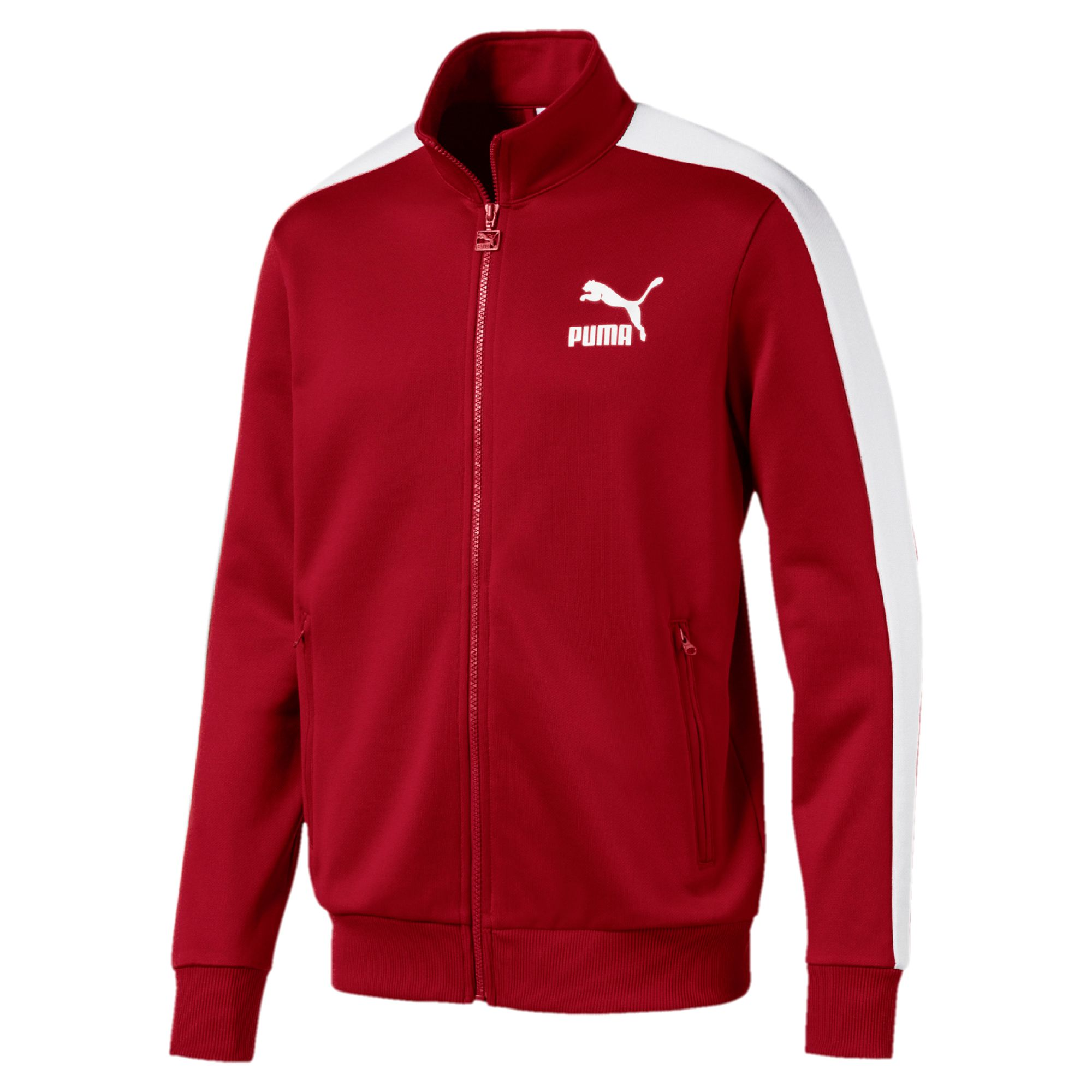 Puma Men's Archive T7 Track Front Zip Jacket Kelly Red Dahlia/White 572658-37
