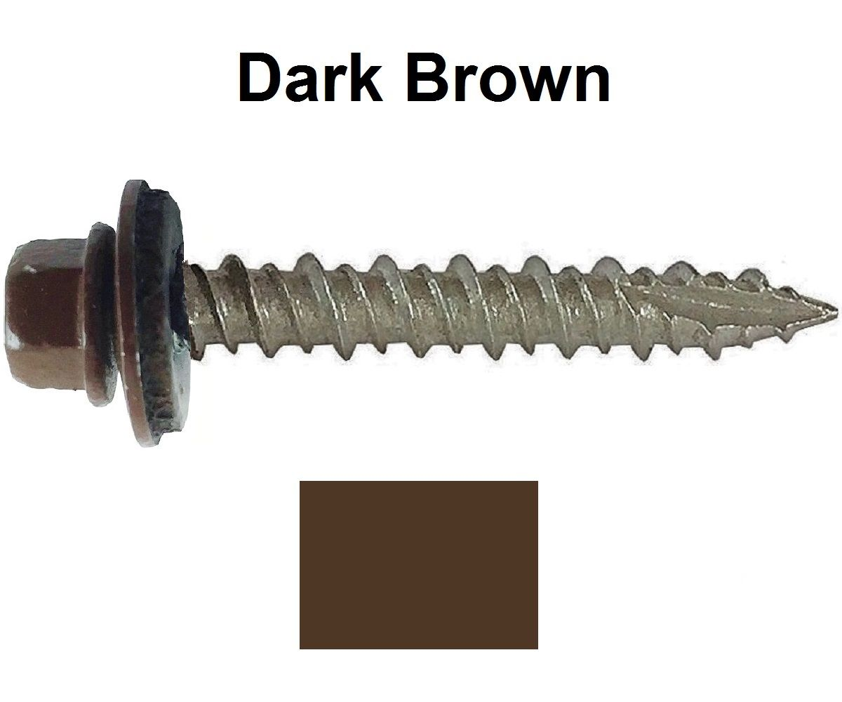 Metal Roofing Screws 250 10 X 2 Quot Dark Brown Hex Head