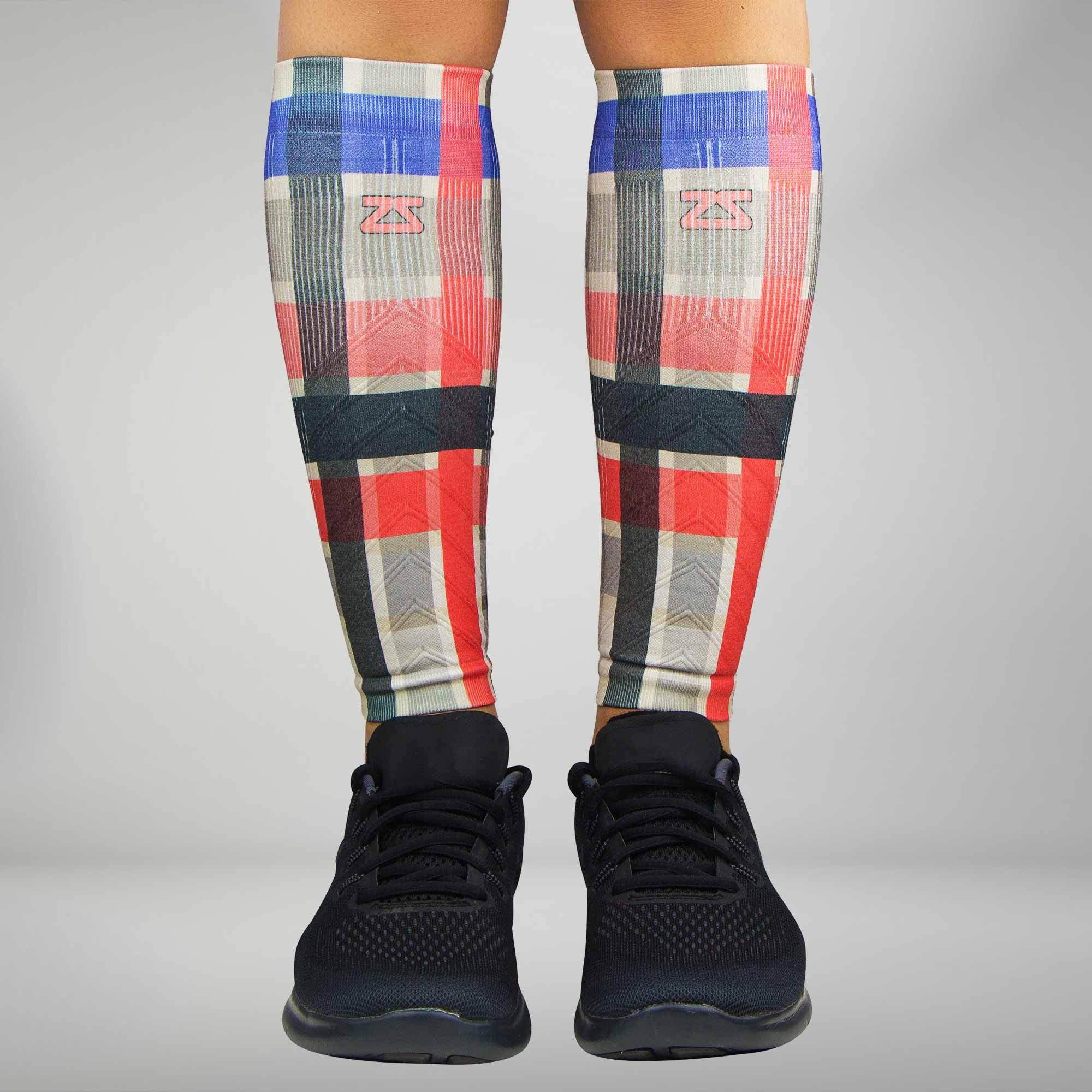 Plaid Compression Leg Sleeves XS/S / Grey-Tan-Red