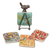 Creative Co-Op Kate McRostie DesignWorks Resin Coaster Set with Tin Bird Stand