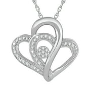 Heart 2 Heart 1/5 Carat T.W. Diamond Sterling Silver Pendant with Chain