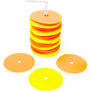 """Crown Sporting Goods 6"""" Non-Skid Floor Spot Markers: Set of 50 Agility Field Cones with Carry Stand"""