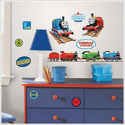 - THOMAS THE TANK ENGINE wall stickers 33 decals trains room decor James Percy +, Dimensions: 4 sheets of 10 x 18 By Sticker Hot