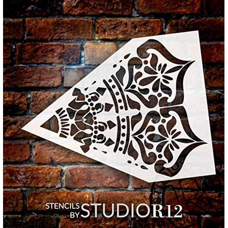 Mandala - India - Repeatable Design Stencil by StudioR12 | Reusable Mylar Template | Use to Paint Wood Signs - Pallets - Pillows - Wall Art - Floor Tile ()