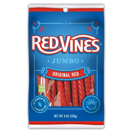 Red Vines, Jumbo Original Red Licorice Candy, 8oz
