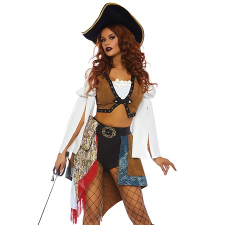 Leg Avenue Women's 3 PC Pirate Wench Costume, Multi, Large - Leg Avenue Pirate Wench Costume