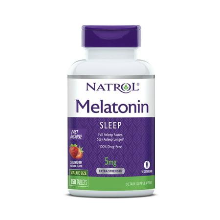 Natrol Melatonin Fast Dissolve Tablets, Strawberry flavor, 5mg, 150