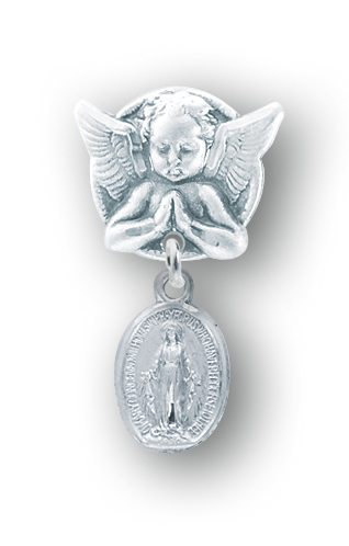 Sterling Silver Oval Miraculous Baby Medal on an Angel Pin by