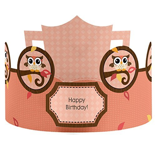 Owl Girl - Crown Happy Birthday Party Hats - 8 Count